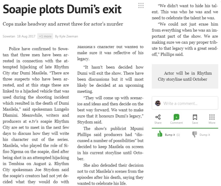 Soapie plots Dumi's Exit