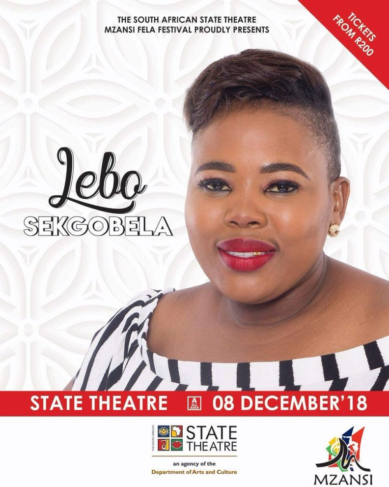 Catch @sekgobelalebo at @sastatetheatre #Mzansifelavestival today the 08th December 2018